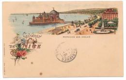 """06 - Souvenir De NICE - Promenade Des Anglais - Cpa """"précurseur"""" Illustrée Couleur GANDINI / BIANCALANA - Panoramic Views"""
