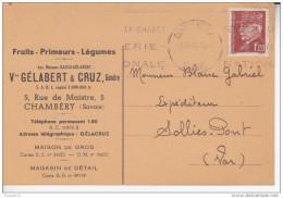 Carte Publicitaire Publicité Gélabert Cruz Fruits Primeurs Légumes Chambéry 5 Rue Maistre Affranchissement Pétain 3.0.43 - Chambery