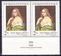 ** Tchécoslovaquie 1968 Mi 1802 (Yv 1651) Le Paire Avec Vignette, (MNH) - Unused Stamps