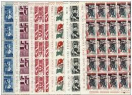ITALIA REPUBBLICA 1965 - SERIE COMPLETA IN FOGLI INTERI **  VENTENNALE DELLA RESISTENZA  - PERFETTI - Fogli Completi