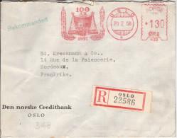 EMA NORVEGE NORGE 1958 OSLO NORSKE CREDITBANK CREDIT BANK BANC BANQUE FINANCE RED METER STAMP ABSENDERFREISTEMPEL LR - Berufe