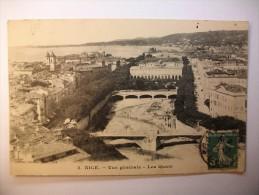 Carte Postale Nice Vue Générale Les Quais (oblitérée 1911 Timbre 5 Centimes ) - Nice