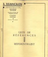 Pub Reclame - Chauffage J. Vrancken - Kortrijk -  Referentielijst - Publicidad