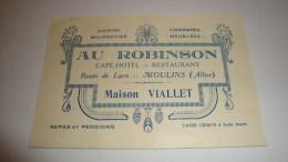 ANCIENNE CARTE DE VISITE ALLIER MOULINS CAFE HOTEL RESTAURANT AU ROBINSON MAISON VIALLET - Cartes De Visite