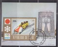 = Bloc République Du Tchad 1 Timbre Oblitéré Fort Lamy 10.4.72 Jeux Olympiques De Sapporo, Japon, Bobsleigh à 4 - Hiver 1972: Sapporo