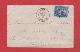 Env De Dijon-- Pour  St Germain Lembron  --  6 Fev 1891 - Marcophilie (Lettres)