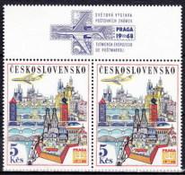 ** Tchécoslovaquie 1967 Mi 1744 Zf (Yv PA 67) Le Paire Avec Vignette, (MNH) - Tschechoslowakei/CSSR