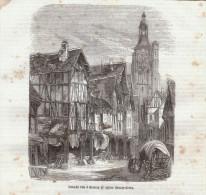 Vers 1850 - Gravure Sur Bois - Bernay (Eure) - Grande Rue Et L'église Sainte-Croix - FRANCO DE PORT - Estampes & Gravures