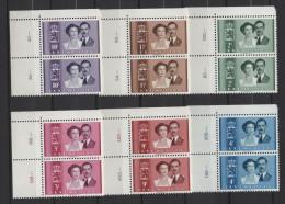 Luxemburg 1953 / Mi 505 -510 ** Im Paar - Eckrand - Hochzeit Erbprinz Jean + Joséphine Charlotte - Ongebruikt