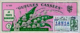 Billet De Loterie Nationale, Gueules Cassées , 1965, (timbre 1965  25ème Tranche) - Billetes De Lotería