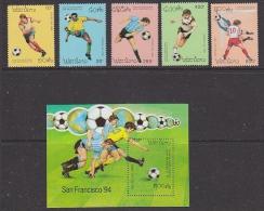 Laos 1993 Football World Cup USA 5v + M/s ** Mnh (WC111A) - 1994 – Vereinigte Staaten