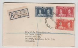 NZ177 / Coronation 1937, Einschreiben Nach UK - 1907-1947 Dominion