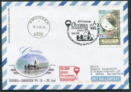 1999 Austria Ballonpost Pro Juventute Sonderballonpost 54 Charity Flight Cover / Gmunden Ovebria WIPA - Transport