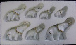 AC - KUTAHYA CERAMICS - ELEPHANT 7 PIECES CERAMIC KNICK KNACK FIGURE FROM TURKEY - Céramiques