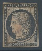Lot N°30564   Variété/n°3, Oblit Grand Cachet à Date Et X ROUGE ??????, Filet OUEST - 1849-1850 Ceres
