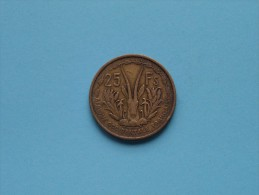 1956 West Africa French Occidentale - 25 Francs / KM 7 ( Uncleaned Coin / Please See Photo ) !! - Colonies