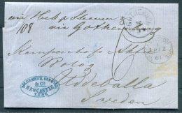 1861 GB London Newcastle On Tyne Stampless Wrapper - Uddevalla, Sweden Via Hull, Goteborg / Gotheborg - 1840-1901 (Victoria)