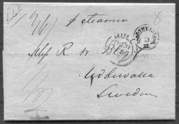1856 GB Hull Stampless Entire - Uddevalla, Sweden Via Grimsby, Goteborg - 1840-1901 (Victoria)
