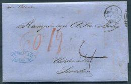 1866 GB Liverpool Von Sobbe & Co. Stampless Entire - Uddevalla, Sweden Via London Sodra St.Banan - 1840-1901 (Victoria)