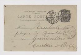 1900.Entier Postal Type Sage Avec Cachet Commercial De La Mercerie Marie Ramard 3 Rue De La Poissonnerie à Dinan.22. - 1877-1920: Période Semi Moderne