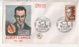 """FDC . ALBERT CAMUS. NOBEL 1957 . """" L'ÉTRANGER """" . """" LA PESTE """" . LOURMARIN. PREMIER JOUR LE 24 JUIN 1967 - Réf. N°433T - - FDC"""