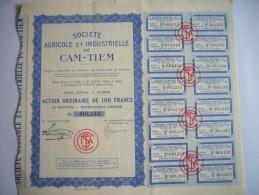 Action Titre Bons Indochine Cochinchine Saigon - Société Agricole Et Industrielle De Cam-Tiem 1936 - Asie