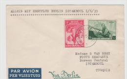 B358 / Erstflug (First Flight) Brüssel - Istanbul 1939 Via Berlin - Belgien