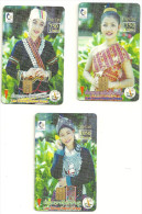 LAOS - 3 Cartes A Puce - COSTUME TRADITIONNEL - Laos