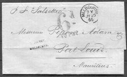 1865 Australia Victoria Melbourne Jouvet Entire 6d TO PAY Postage Due Taxe - Mauritius - 1850-1912 Victoria