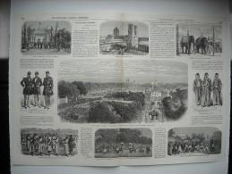 GRAVURE 1863. INDE. FETE DU 15 AOUT A PONDICHERY. 9 GRAVURES AVEC EXPLICATIF, SUR UN DOUBLE FEUILLET. CIPAYES. ELEPHANS. - Prints & Engravings
