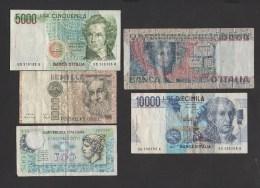 Italie- Lot De 5 Billets ( 500,1000,5000,10 Et 50000 Lires   ) Bon état,  Circulés   Voir Scans - [ 2] 1946-… : Républic