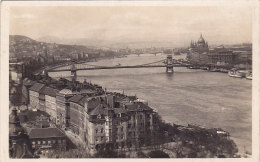 Budapest - Vue Du Danube Avec Pont Suspendu, Dunai Latkep A Lanchiddal (1934) - Hongrie