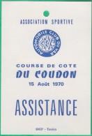 Automobile - Carte Assistance  - Automobile Club Du Var - Course De Cote Du Coudon (Toulon) - Automobile - F1