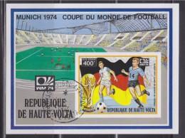 = Bloc République De Haute Volta 1 Timbre Oblitéré Non Dentelé Ouagadougou 1974 Coupe Du Monde Football Munich - Coppa Del Mondo