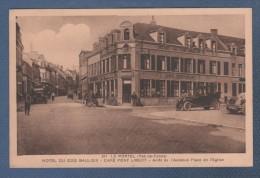 62 PAS DE CALAIS - CP ANIMEE LE PORTEL - HOTEL DU COQ GAULOIS - CAFE PONT LIBERT - ARRET DE L'AUTOBUS PLACE DE L'EGLISE - Le Portel