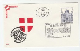 1972 AUSTRIA FDC  European POST CONFERENCE Stamps SPECIAL Pmk Cover - FDC