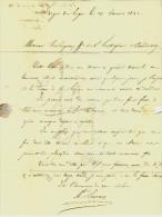 """LETTRE Par LESCURE MAITRE DE FORGES LUGOS GIRONDE  Avec Cursive """"32 Belin"""" 1841 à HOLAGRAY ET FESTUGIER BORDEAUX B.E. - 1800 – 1899"""