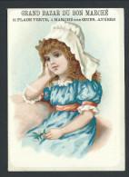 Chromo Publicitaire - Anvers - Antwerpen - Grand Bazar Du BON MARCHE - Enfant - Fille - GIRL - Robe Bleue  // - Au Bon Marché