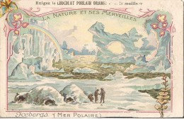 CHROMO CHOCOLAT POULAIN ORANGE LA NATURE ET SES MERVEILLES ICEBERG MER POLAIRE - Poulain