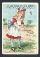 Chromo Publicitaire - Anvers - Antwerpen - Grand Bazar Du BON MARCHE - Enfant Fille Girl Tennis Badmington Jeu  // - Au Bon Marché