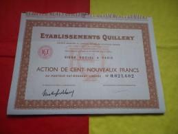 Ets QUILLERY (100 NOUVEAUX FRANCS) - Shareholdings