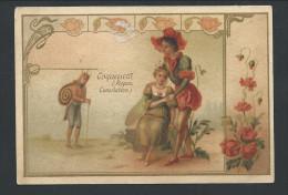 Chromo Publicitaire Lille - Chicorée A LA BELLE JARDINIERE - Fleur Coquelicot Personnifié - Repos - Escargot  //