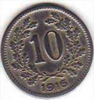 Österreich - AUSTRIA, 10 HELLER 1916 - Oesterreich