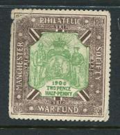 """1900 Manchester Philatelic Society War Fund Poster Stamp Vignette Label No Gum 1 1/2 X 1 5/8"""" - Cinderellas"""