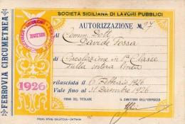 1926 TESSERA FERROVIA CIRCUMETNEA - Non Classificati