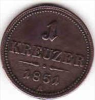 Österreich - AUSTRIA, 1 KREUTZER 1851 A - Oesterreich