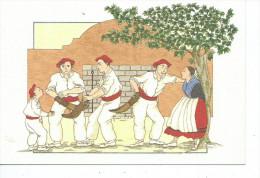 """64-*PAYS BASQUE-EUSKAL HERRIA*Illustrateur Anne-Odile HUET-HUMEAU-*Preparation Avant La Partie De """"Pelote Basque"""" - Non Classés"""