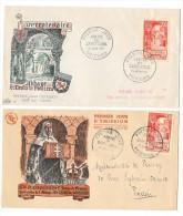 ABBAYE SAINTE CROIX DE POITIERS Ensemble De 2 Enveloppes Premier Jour 21 Juin 1952 - France
