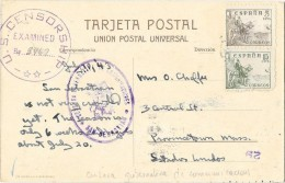 ESPAGNE Censura Gubernativa De Comunicaciones San Sebastian + Cachet US CENSORSHIP 1943 - Marques De Censures Nationalistes