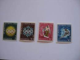 JO121   Olympiques St-Moritz Olympic Games  Suisse   MNH   Mi 492-495 - Winter 1948: St. Moritz